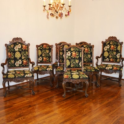 Carved Wood and Upholstered Dining Chairs, Set of Eight