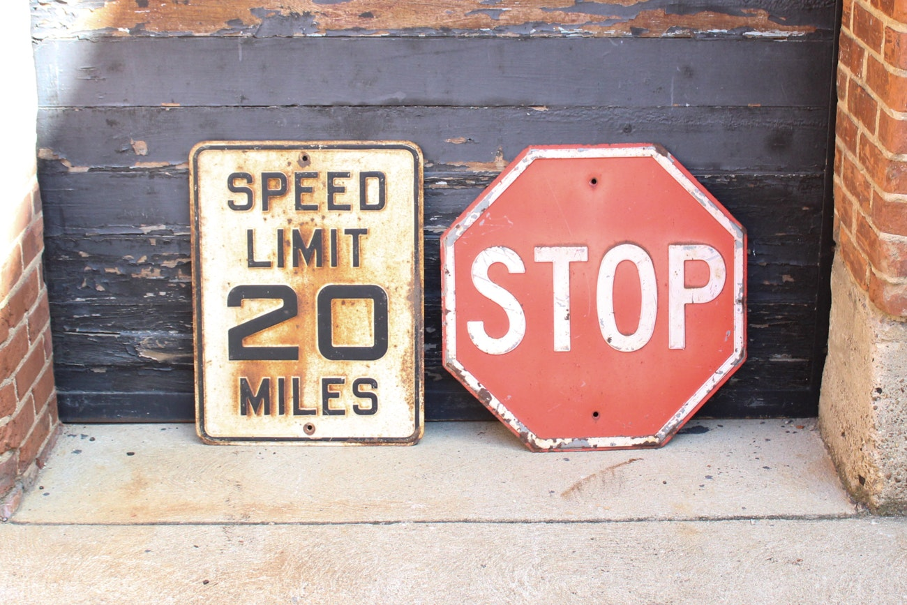 Pair Of Vintage Embossed Street Signs