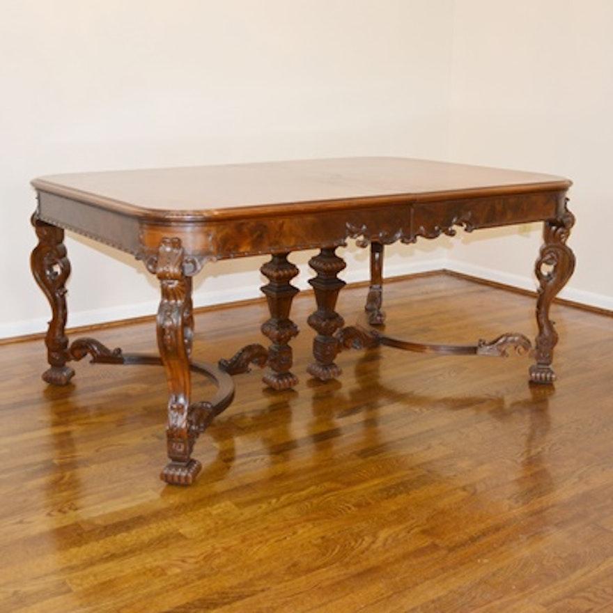 Batesville Cabinet Co. Baroque Italian Style Dining Room Table, Circa 1930s