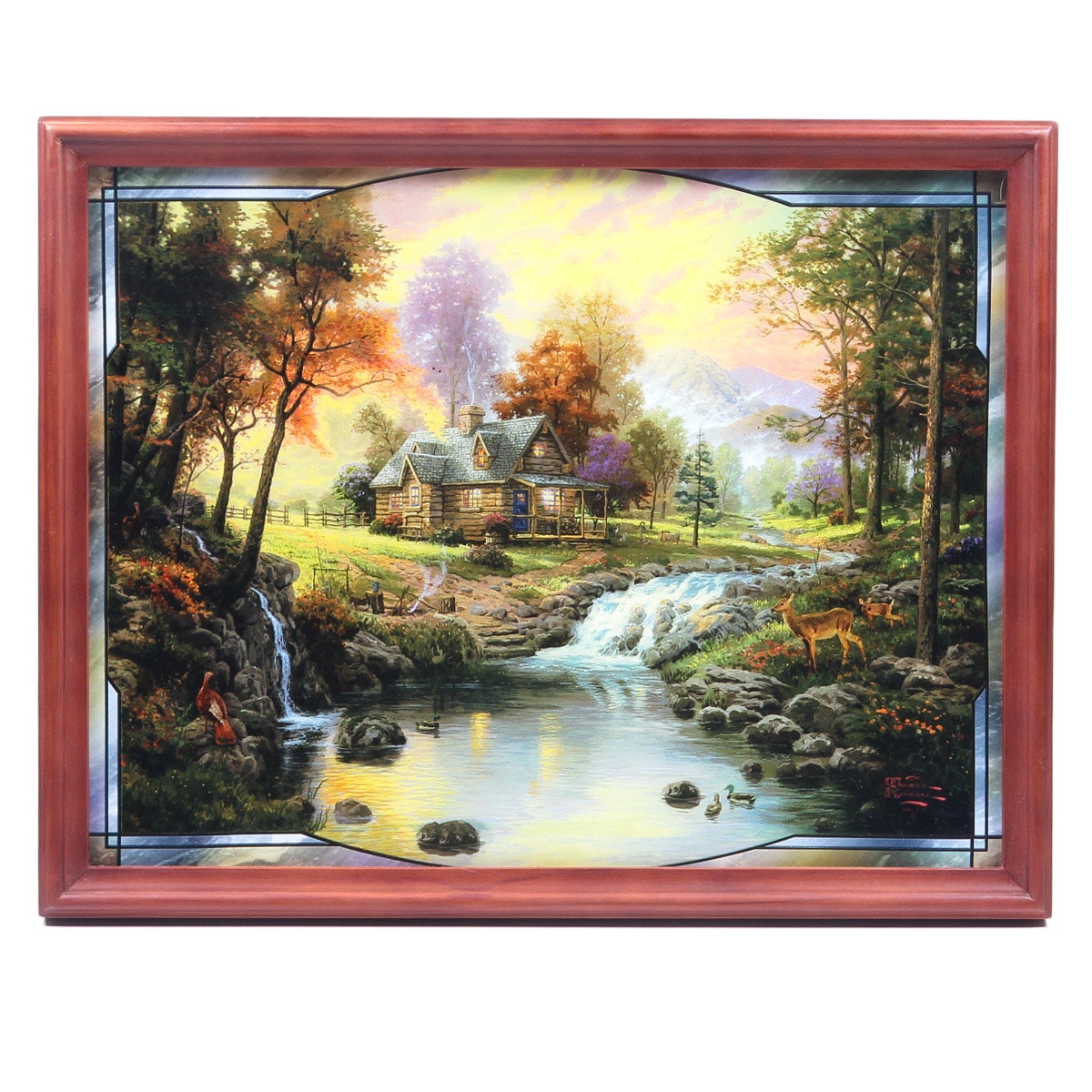 "Offset Lithograph on Plastic After Thomas Kinkade ""The Mountain Retreat"""