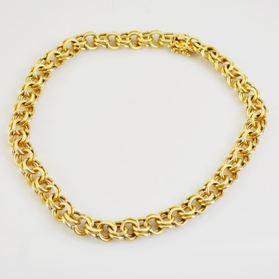 14K Yellow Gold Double Ring Link Necklace