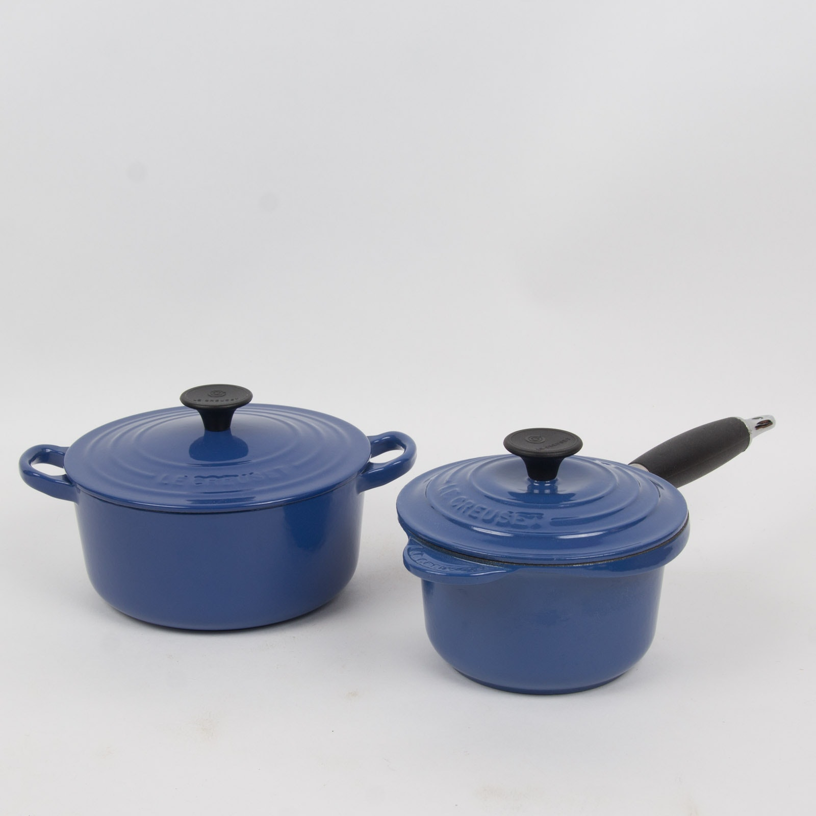 Enamel over Cast Iron Blue Cookware By Le Creuset