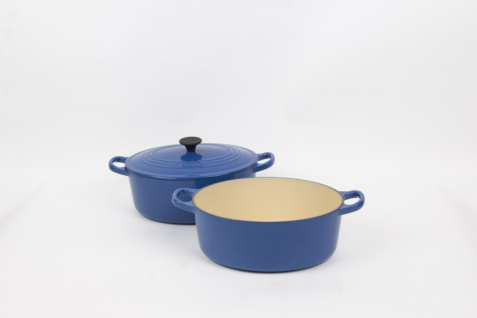 Blue Enamel over Cast Iron Dutch Oven Set By Le Creuset