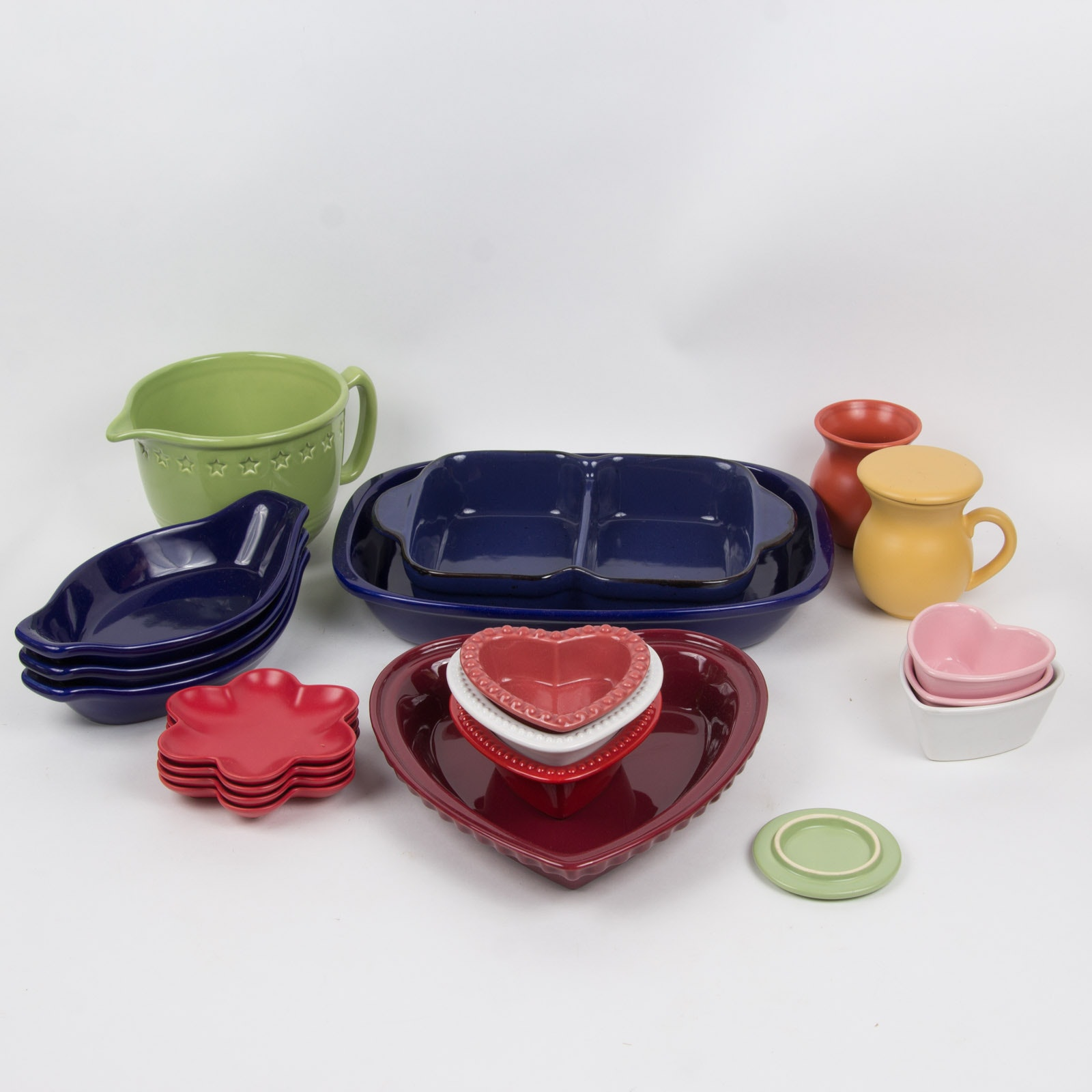 Large Collection of Ceramic Serveware by Chantal, Williams Sonoma, and Sabatier