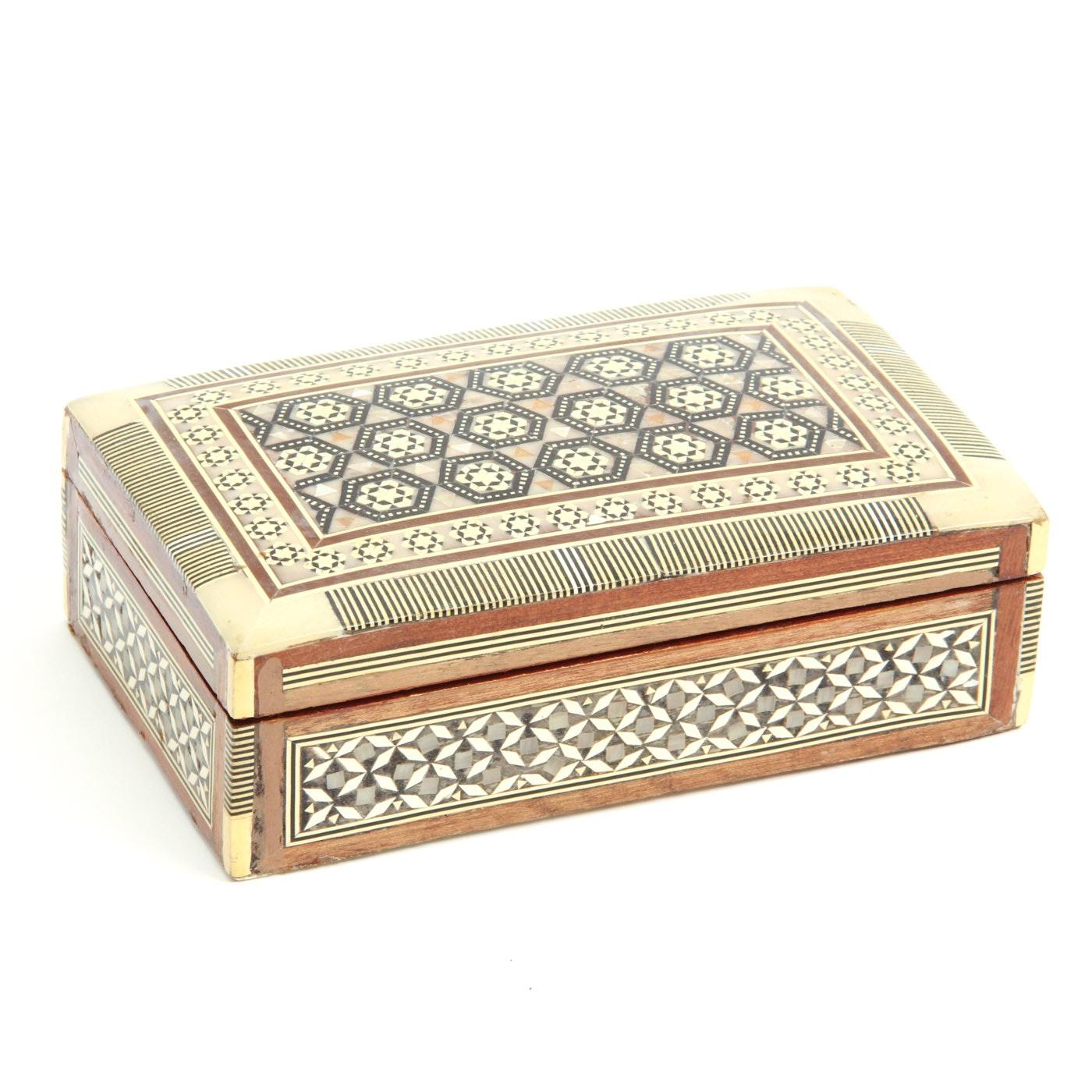 Persian Mother of Pearl and Inlaid Bone Khatam Trinket Box