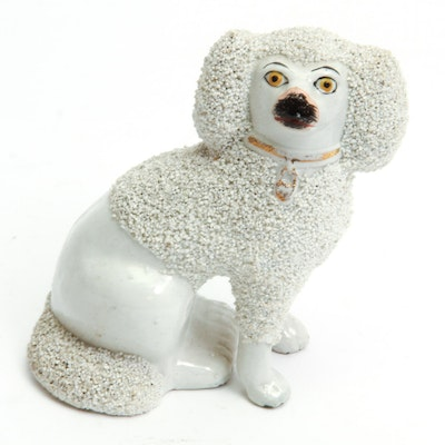Antique Staffordshire Porcelain Poodle