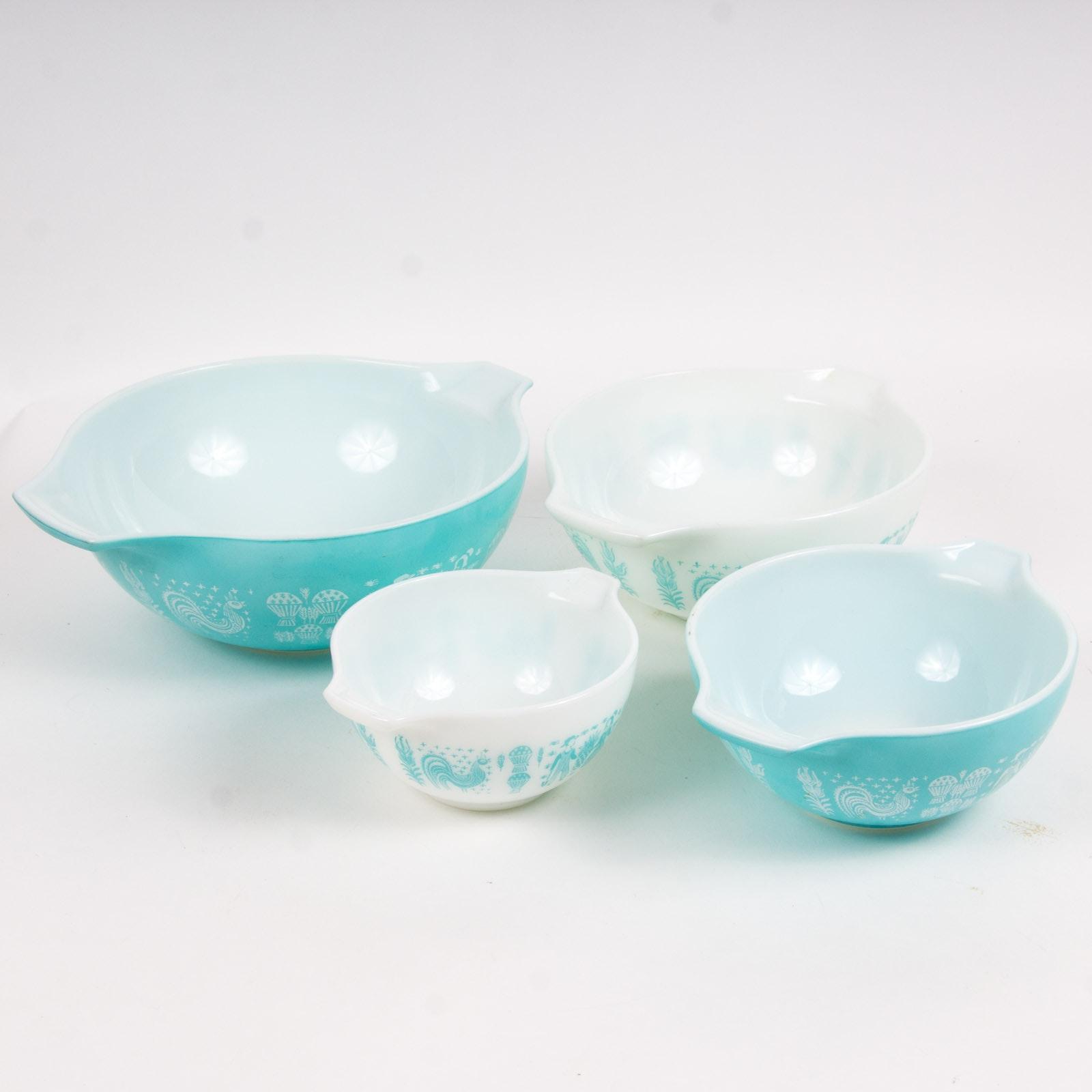 "Vintage Pyrex ""Butterprint Turquoise"" Glass Cinderella Mixing Bowls"