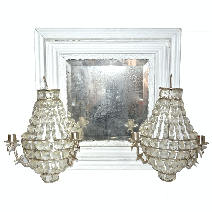 Shabby Chic Wood Mirror And Glass Cut Wall Sconces Ebth
