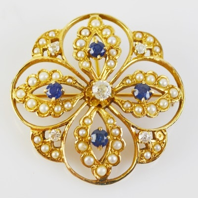 14K Yellow Gold Sapphire and Diamond Converter Brooch