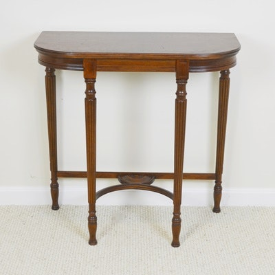Demilune Wood Stained Foyer Table