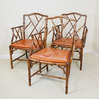 Chinese Chippendale Style Faux Bamboo Armchairs