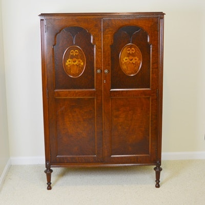 Walnut Wardrobe With Marquetry, Late 1920s-30s