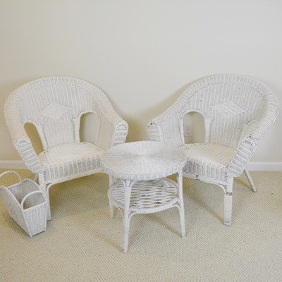 White Wicker Chairs, Round Table and Magazine Basket
