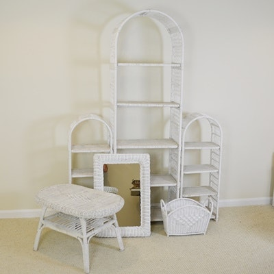 White Wicker Etagere/Shelves and Other Wicker Furniture