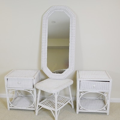 White Wicker End Tables, Side Table and Mirror