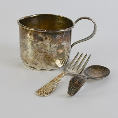 Sterling Silver Childs' Cup and Utensils by Webster & Co. and S. Kirk & Sons