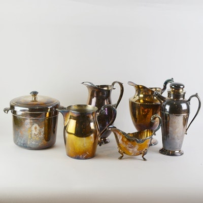 Silver Plate Pitchers, Ice Bucket and Shaker