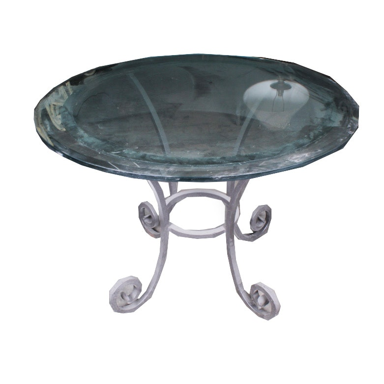 Round Metal Dining Table with Glass Top