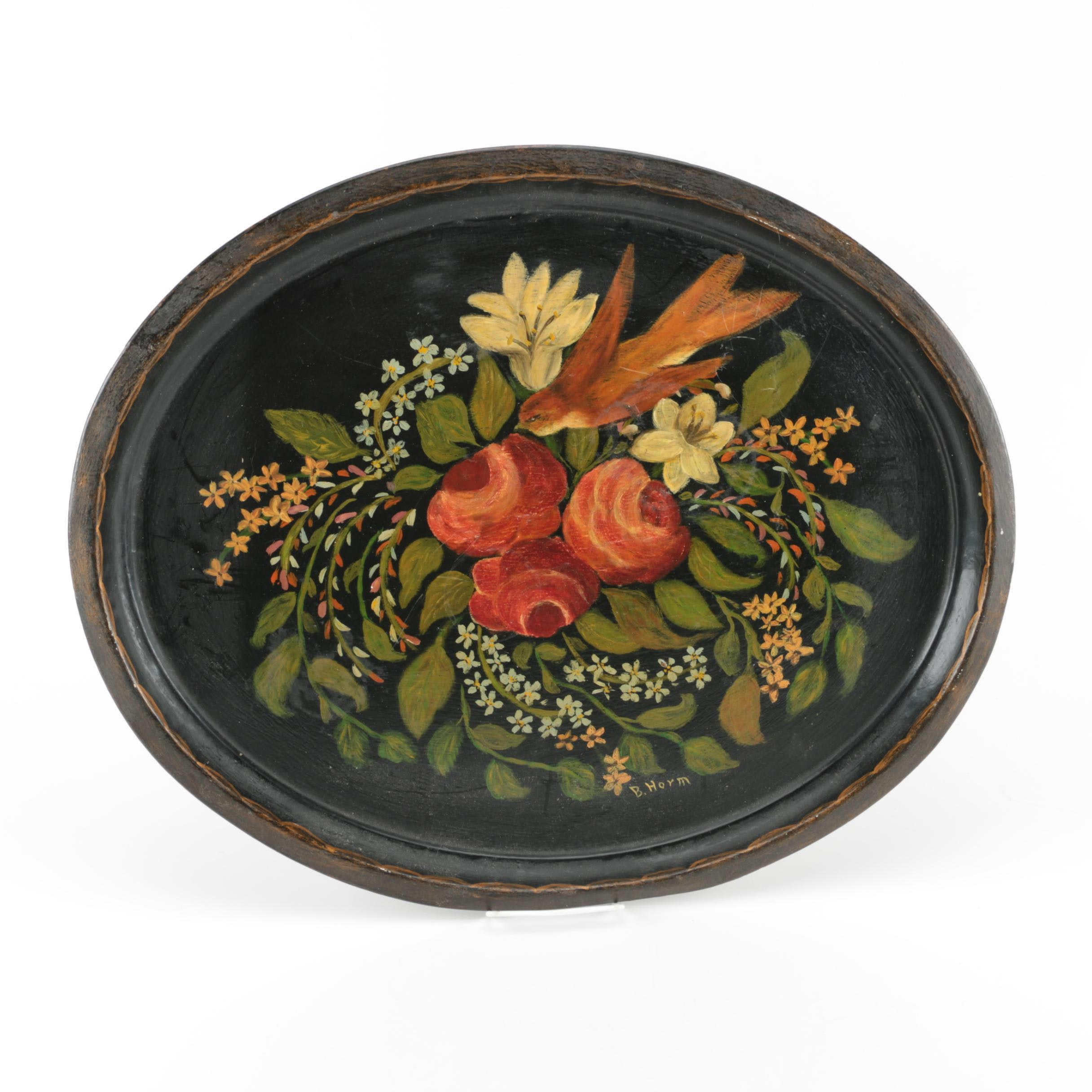Tole Oval Floral Motif Serving Tray