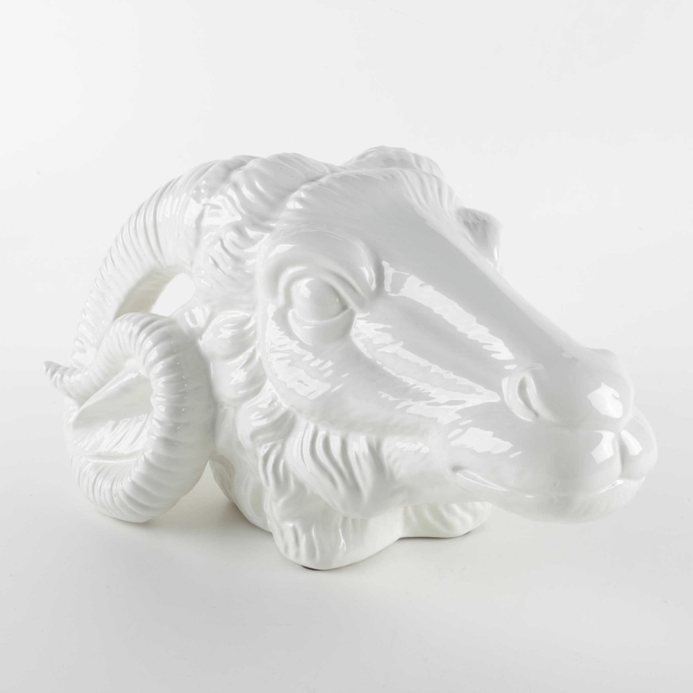 White Ceramic Goat Head Figurine