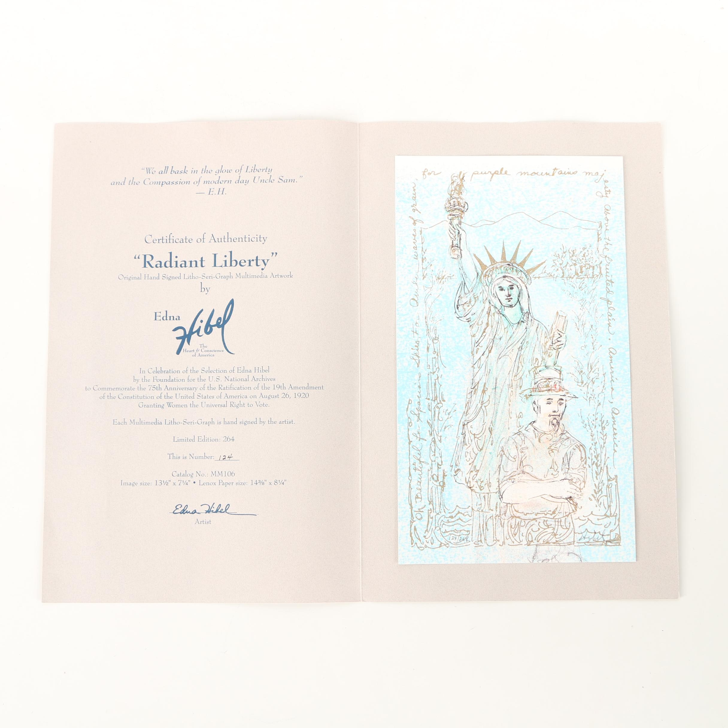 "Edna Hibel Limited Edition Litho-Serigraph on Paper ""Radiant Liberty"""