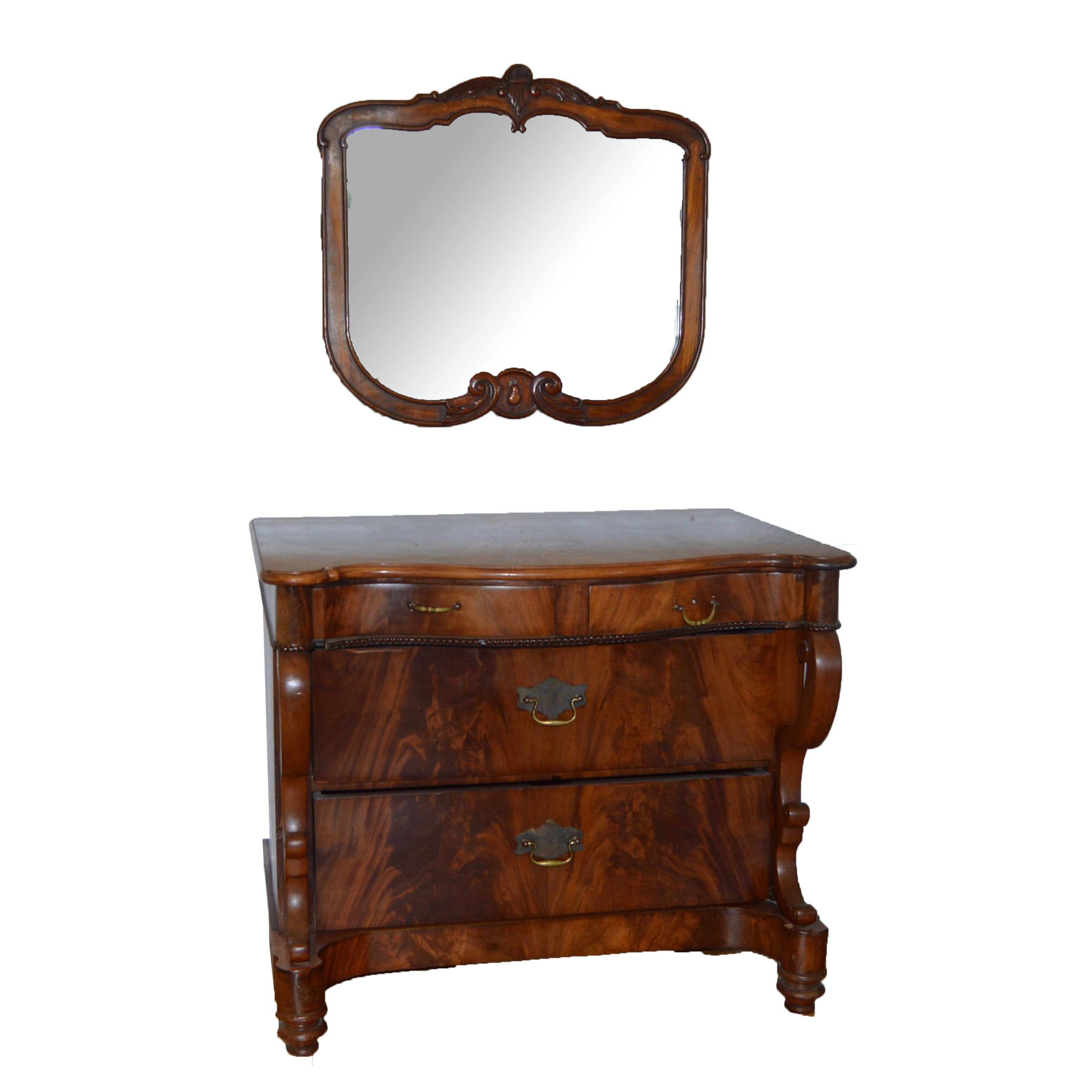 Antique Crotch Mahogany Four Drawer Chest With Wall Mirror