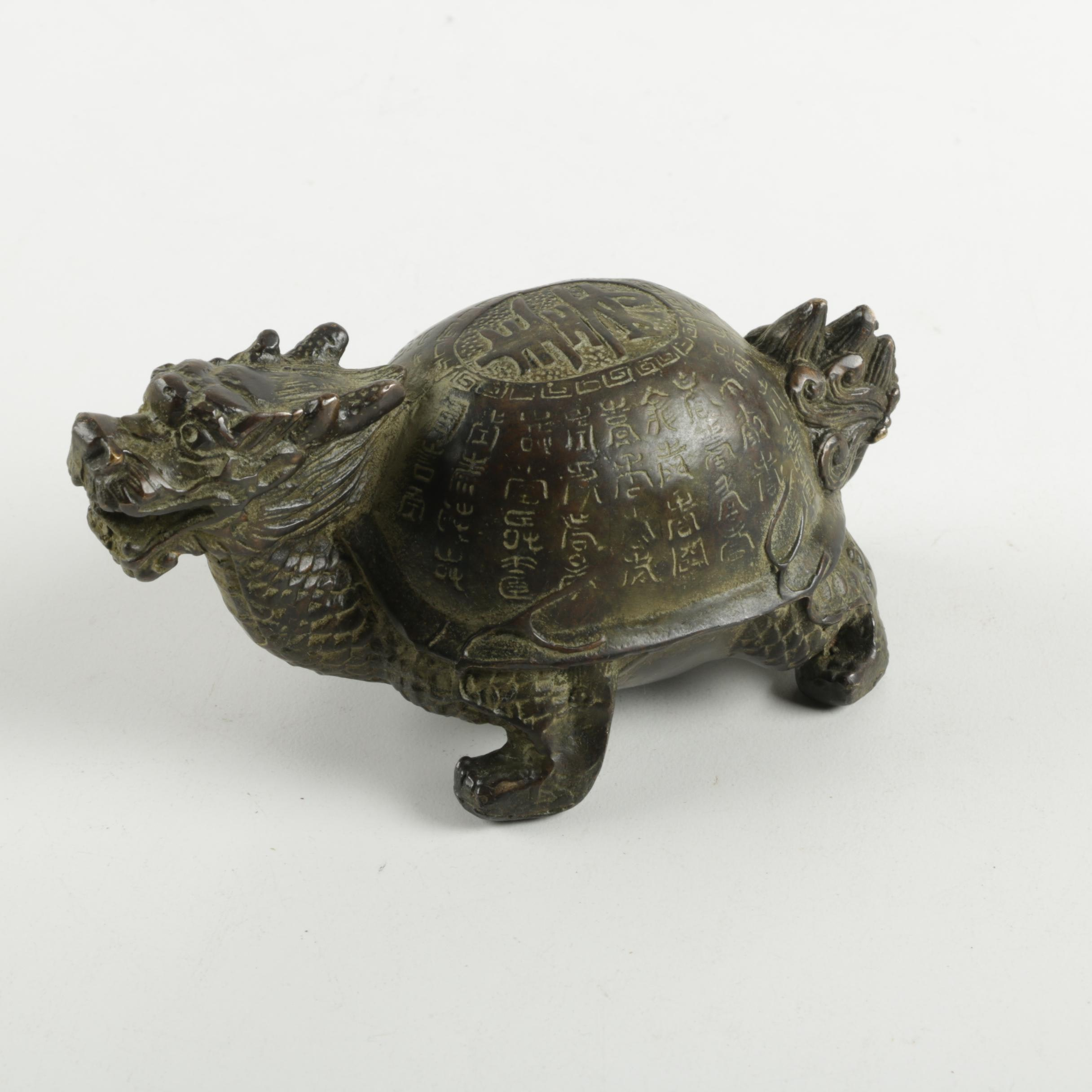 Metal Chinese Dragon Turtle Figurine
