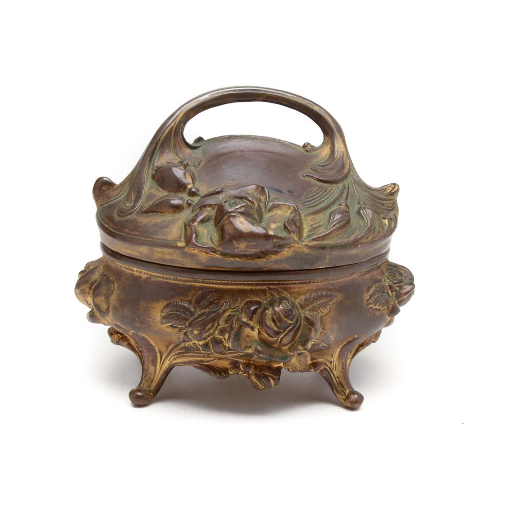 Vintage Brass BW Art Nouveau Jewelry Box EBTH