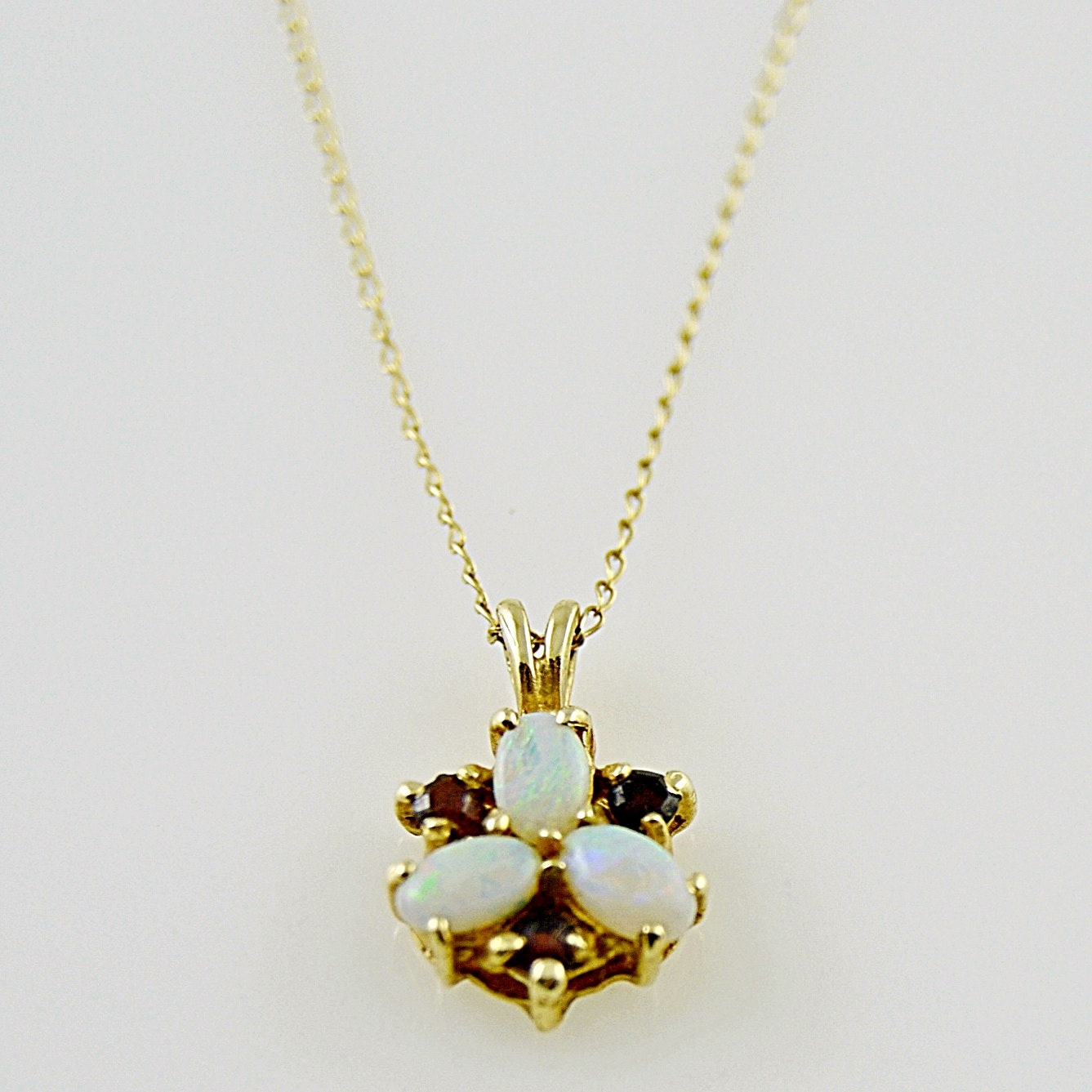 14K Yellow Gold, Opal and Garnet Pendant Necklace