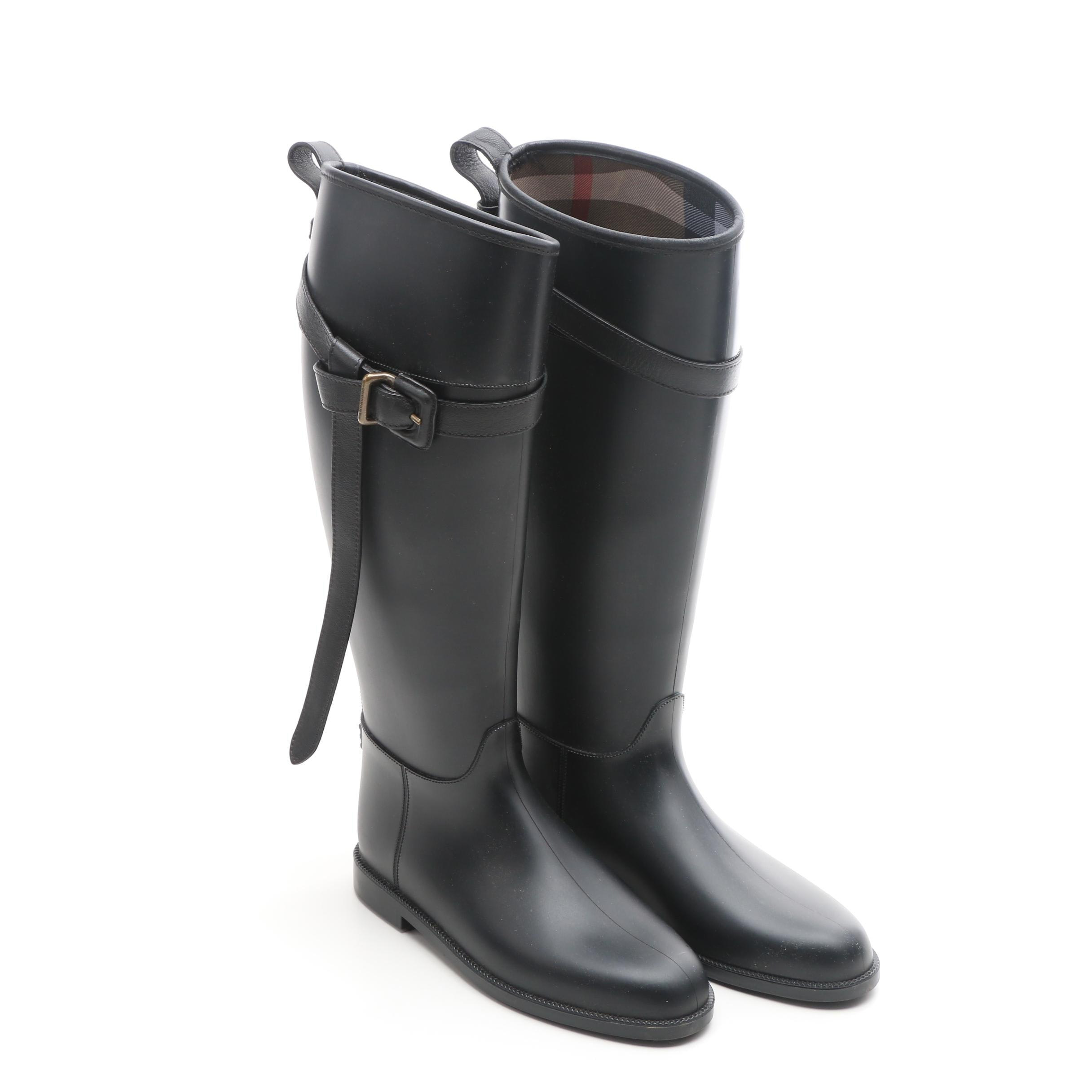 Burberry Rubber Rain Boots with Wrapped Strap and Buckle, Made in Italy