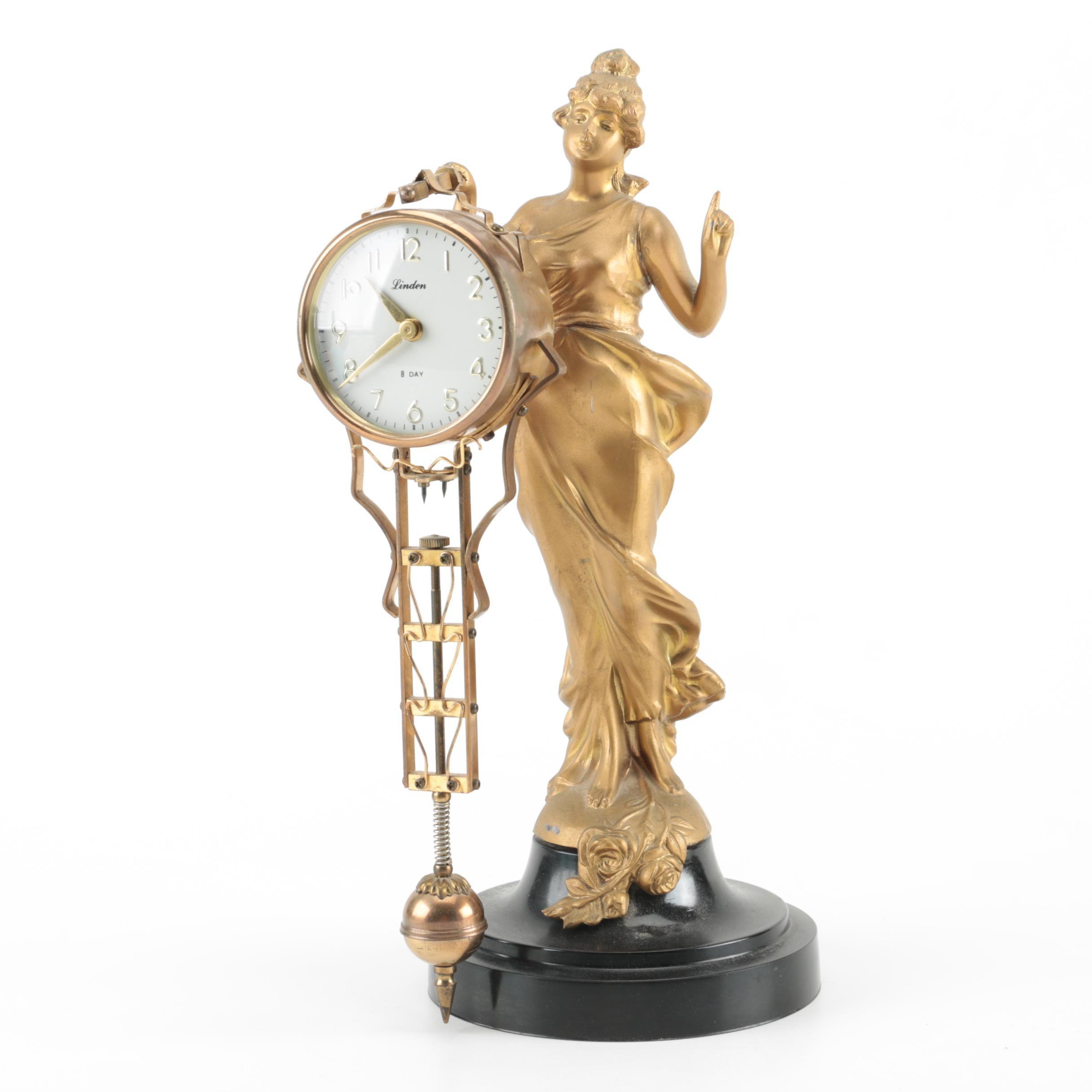 Linden Art Deco Style Eight-Day Mantel Clock