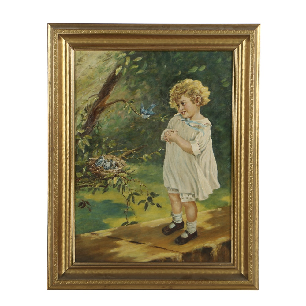 Sarah Virginia Wilson Oil Painting on Board Portrait of a Young Girl