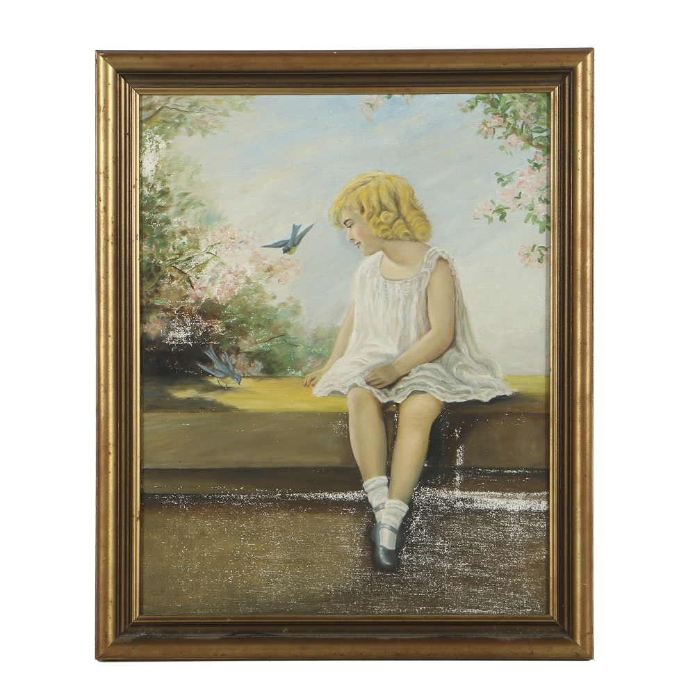 Sarah Virginia Wilson Oil Painting on Canvas Portrait of a Young Girl
