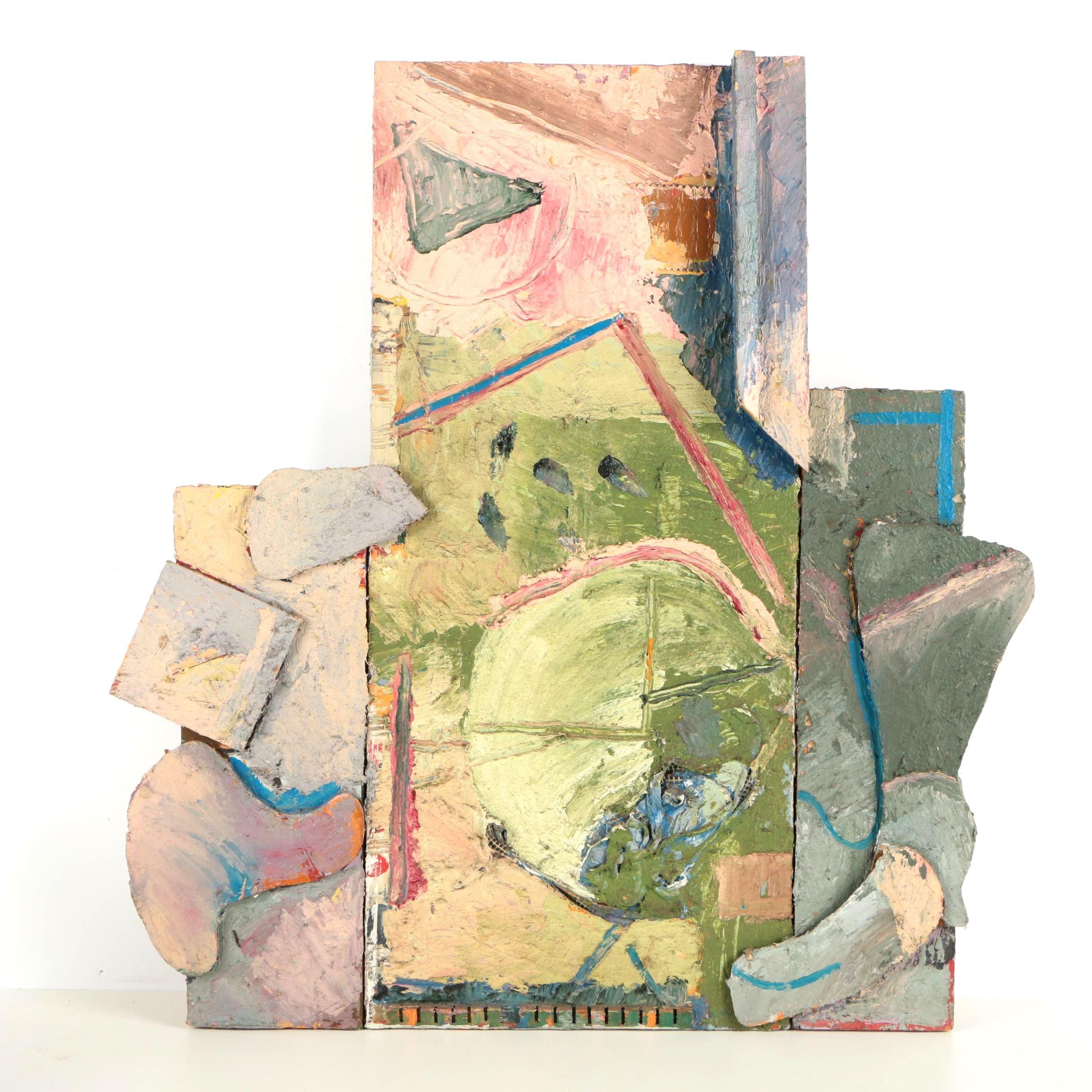 "Stuart Diamond Mixed Media Oil Painting on Panel ""Soft Green"""