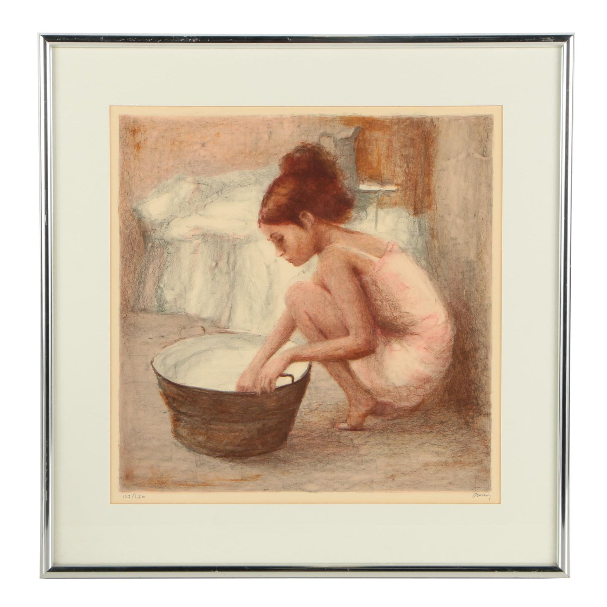 Limited Edition Lithograph on Paper of Woman and Tub