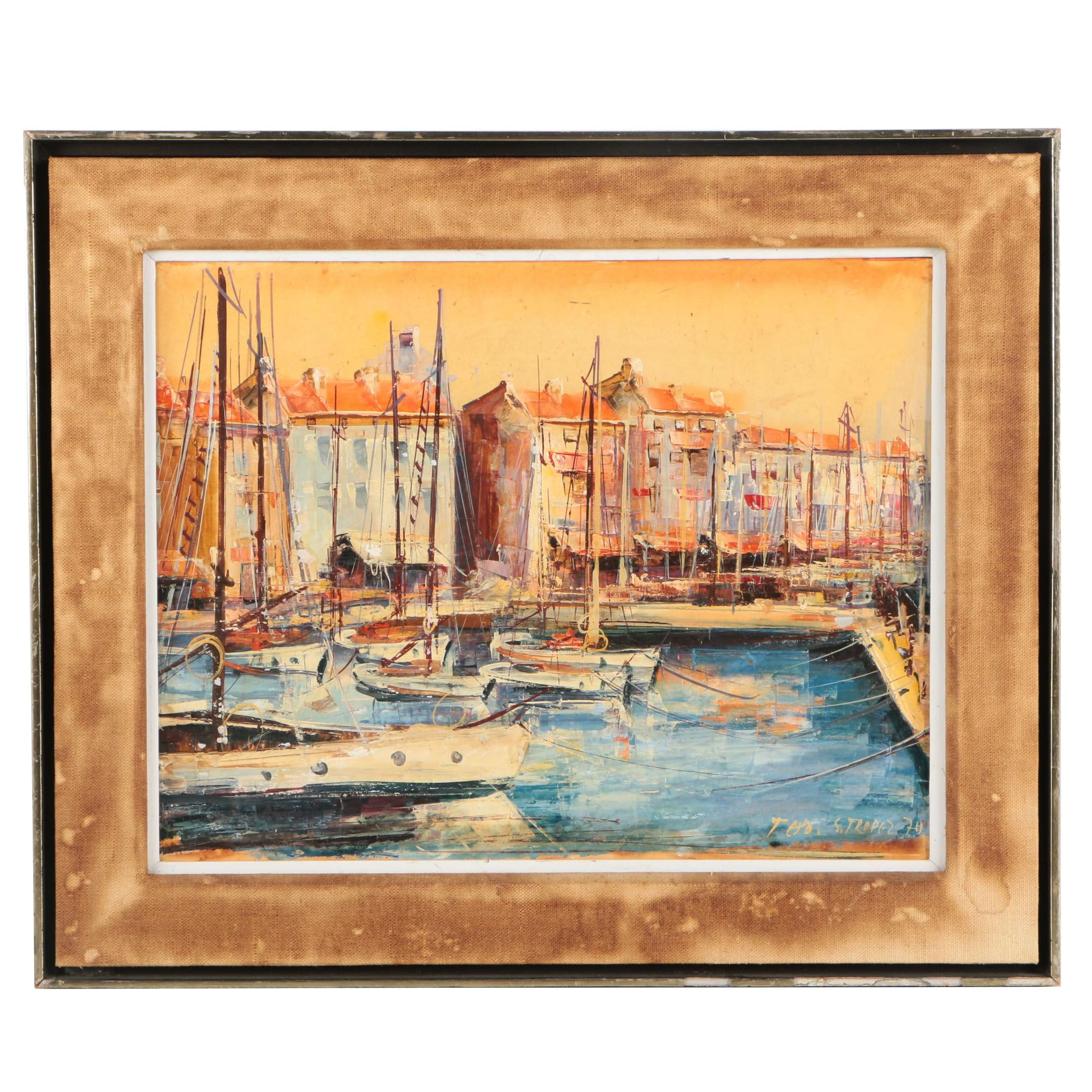 "T.H.O. Oil Painting of Harbor ""S. Tropez"""