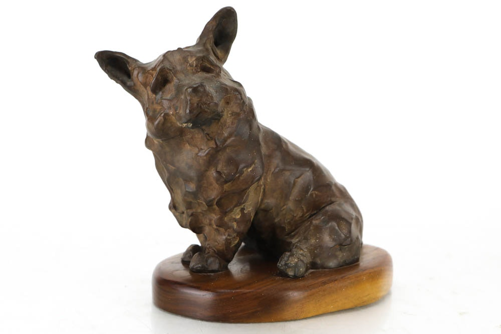 Signed Bronze Tone Corgi Sculpture