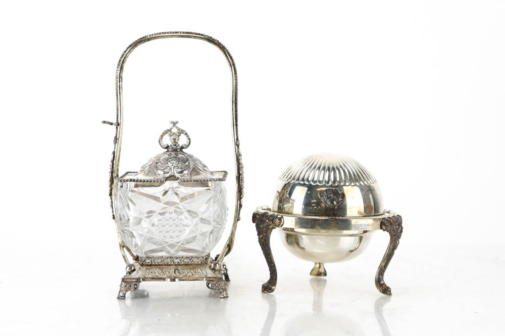 Crystal and Silver Plate Condiment Dish and Silver Plate Dome Butter Dish