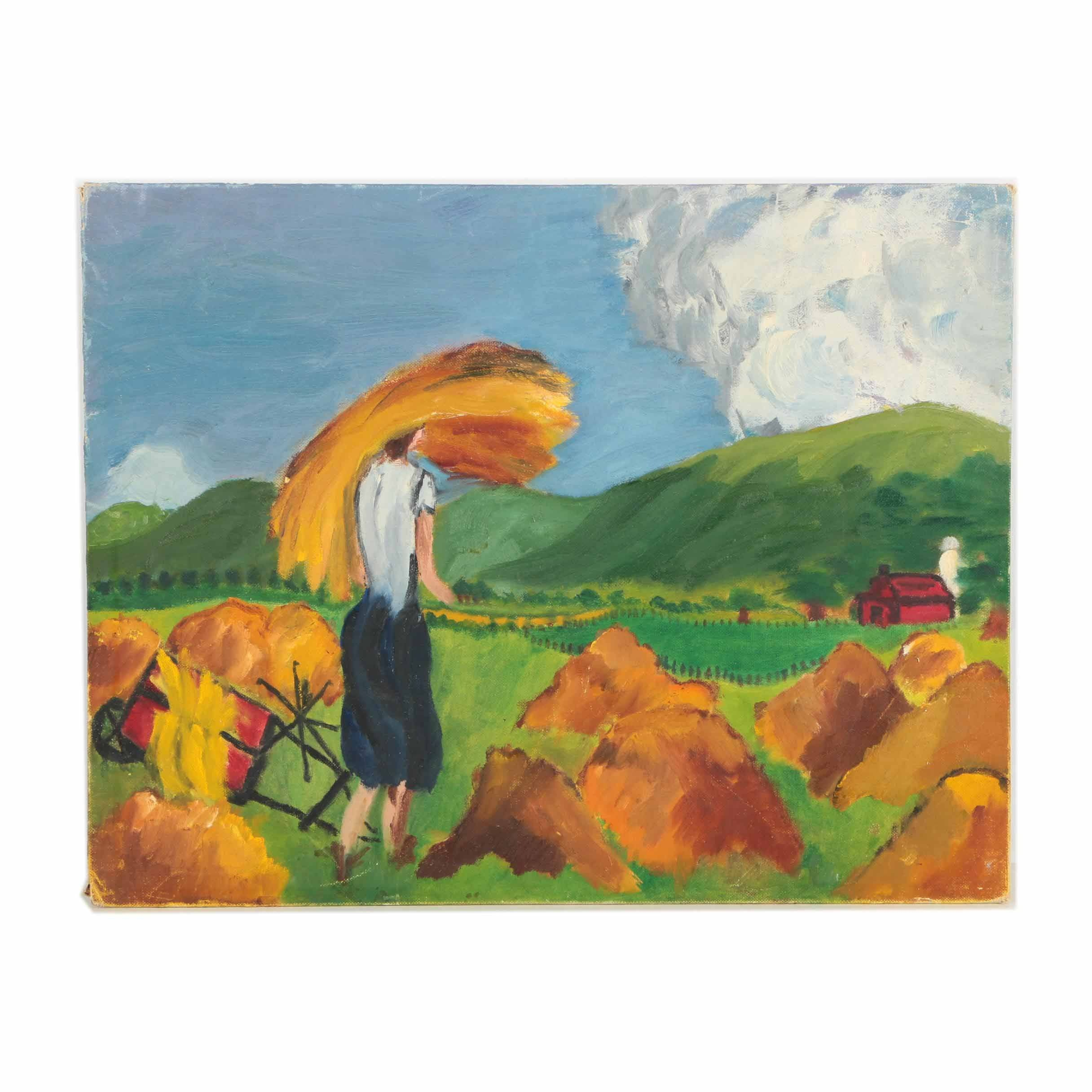 Oil Painting of a Woman Carrying Hay