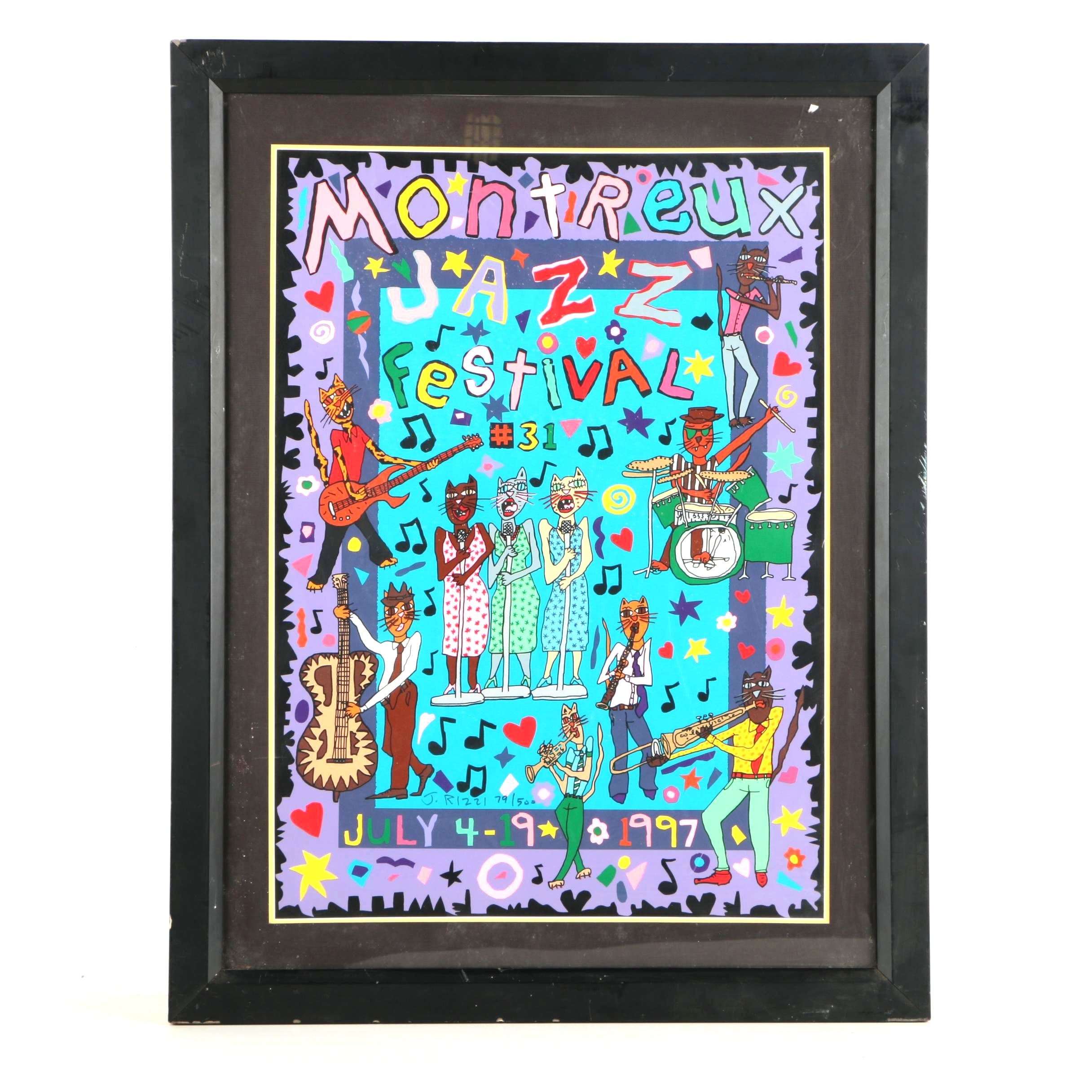 "J. Rizzi Limited Edition Serigraph on Paper ""Montreux Jazz Festival 1997"""