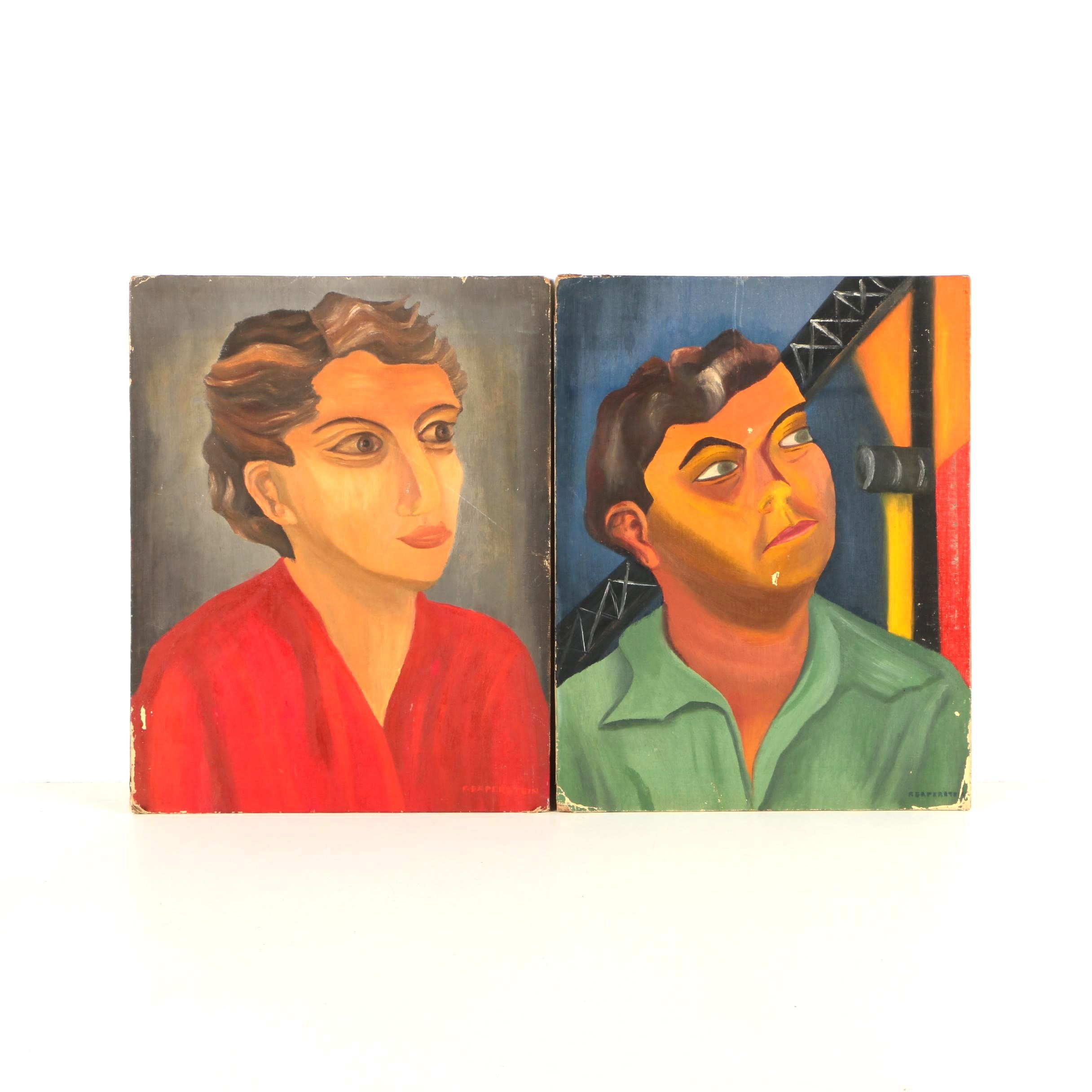 Frannie Saperstein Oil Portraits on Canvas Board