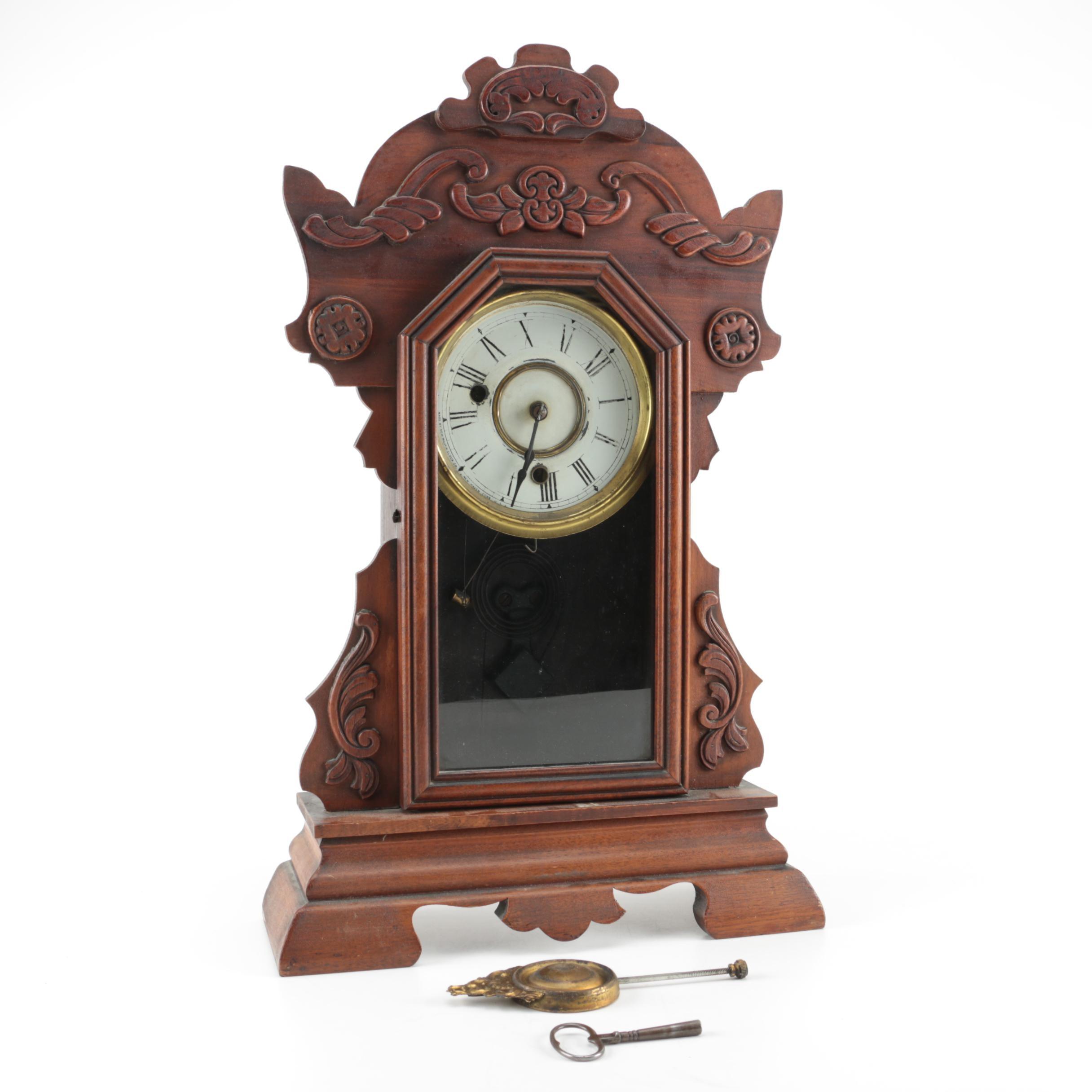 Vintage New Haven Carved Gingerbread Mantel Clock