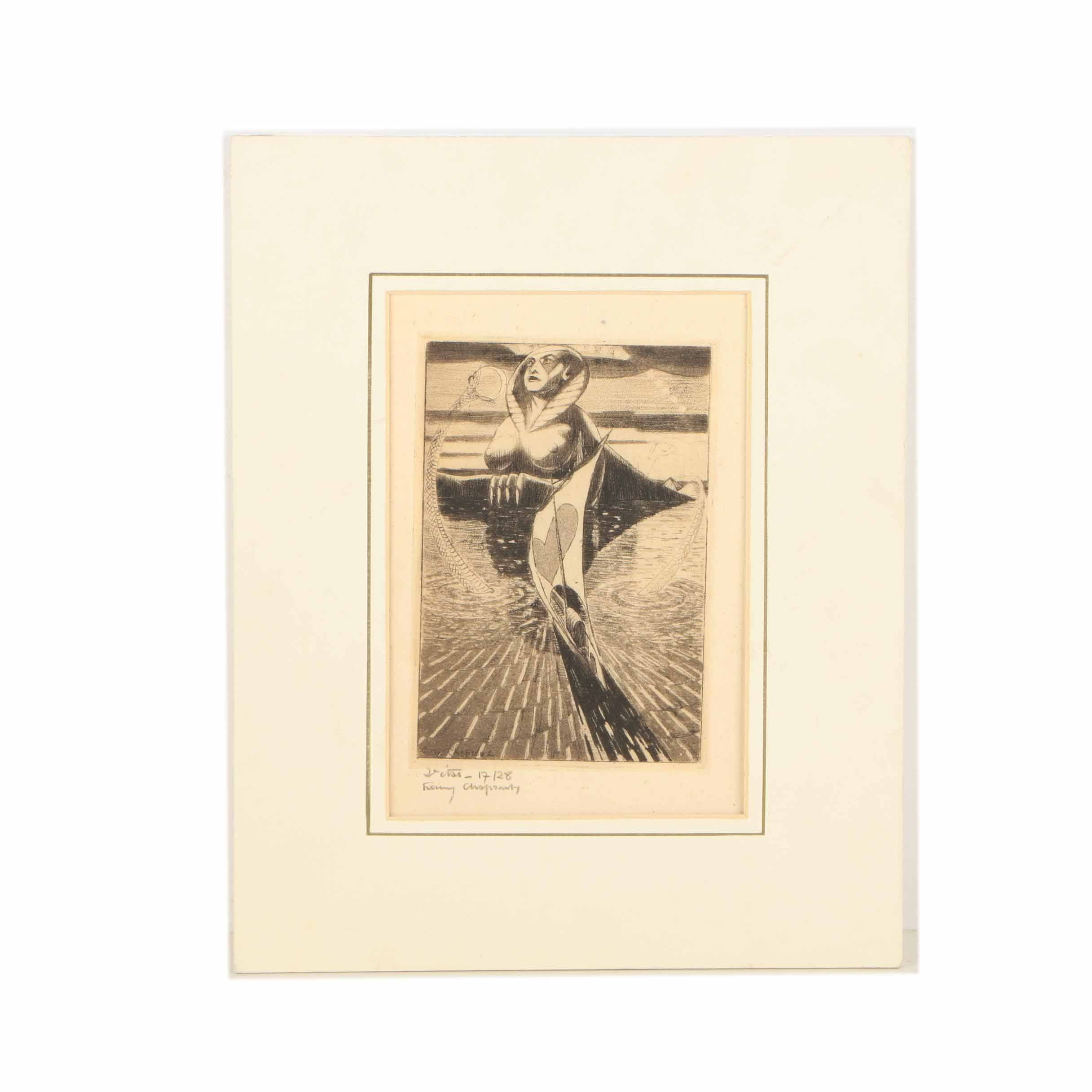 Henry Chapront Limited Edition Etching of a Surrealist Landscape with a Sphinx