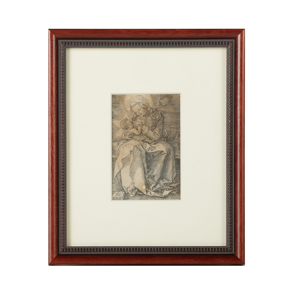 "Albrecht Dürer Copper Engraving Printed from the Plate ""Madonna Nursing"""