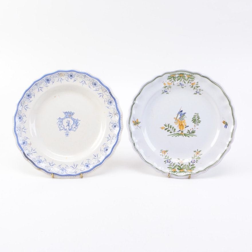 Vintage french faience decor moustiers plates ebth for Decoration faience