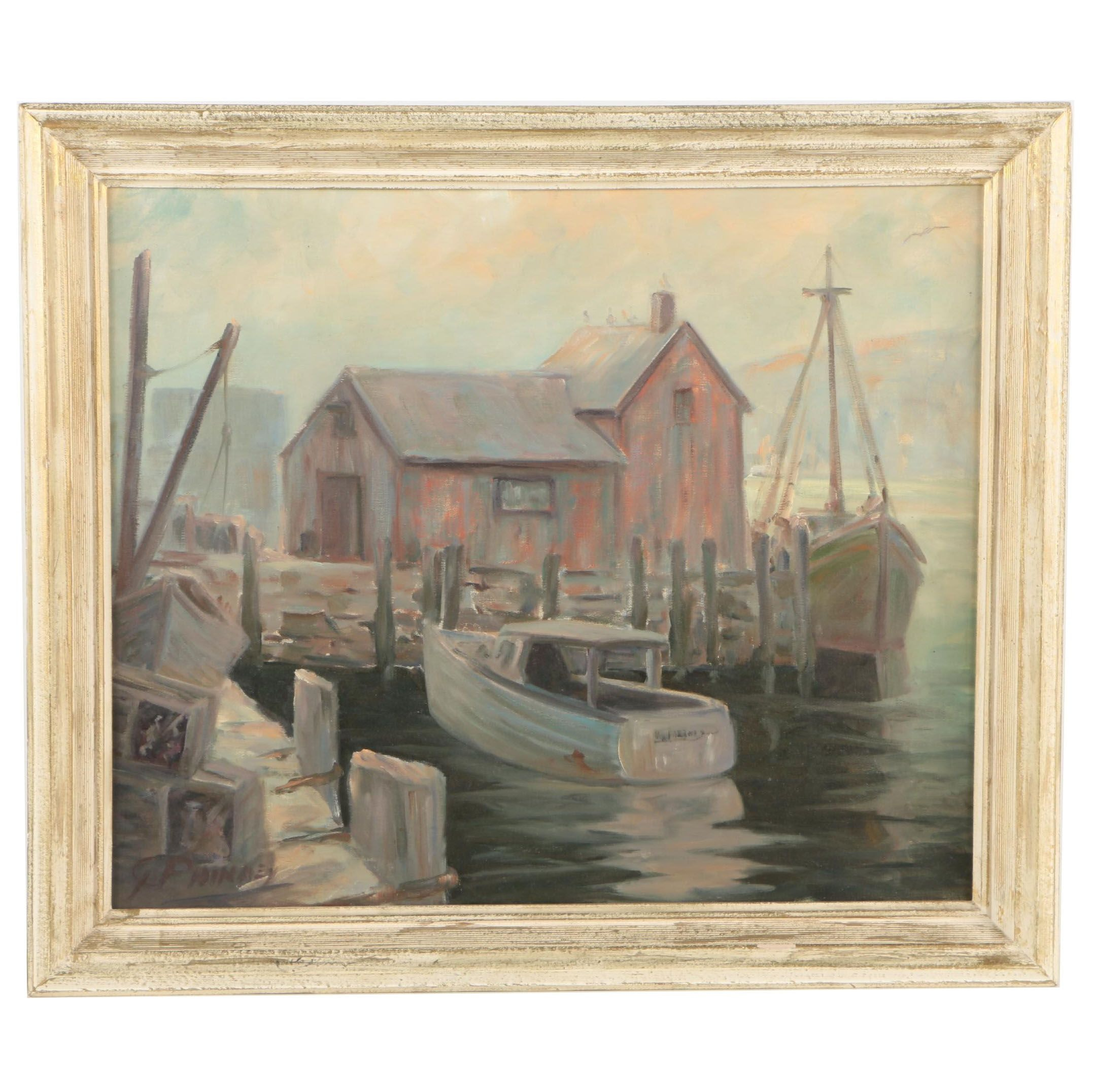 George Phinney Oil Painting on Canvas of a Harbor