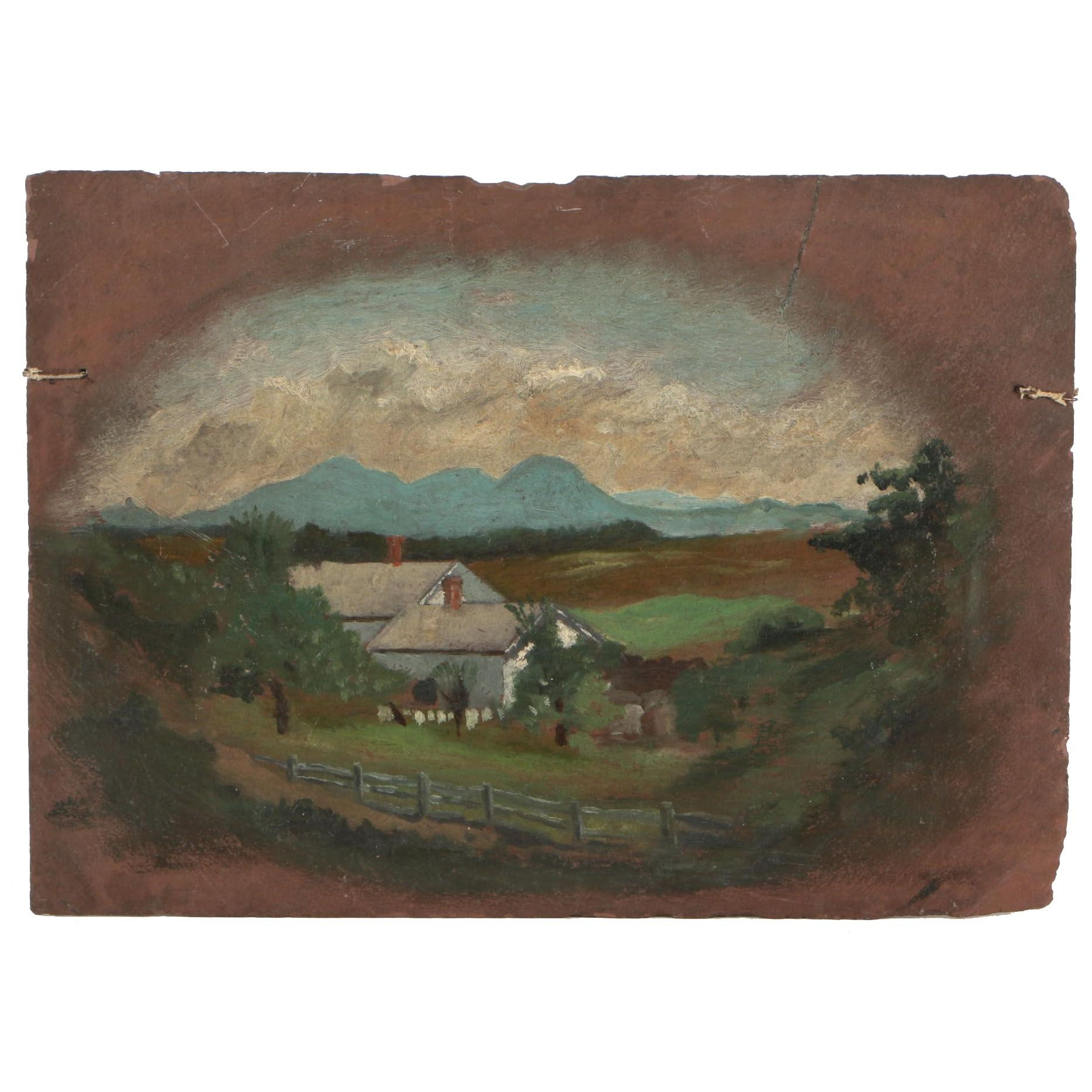Oil Painting of a Farm