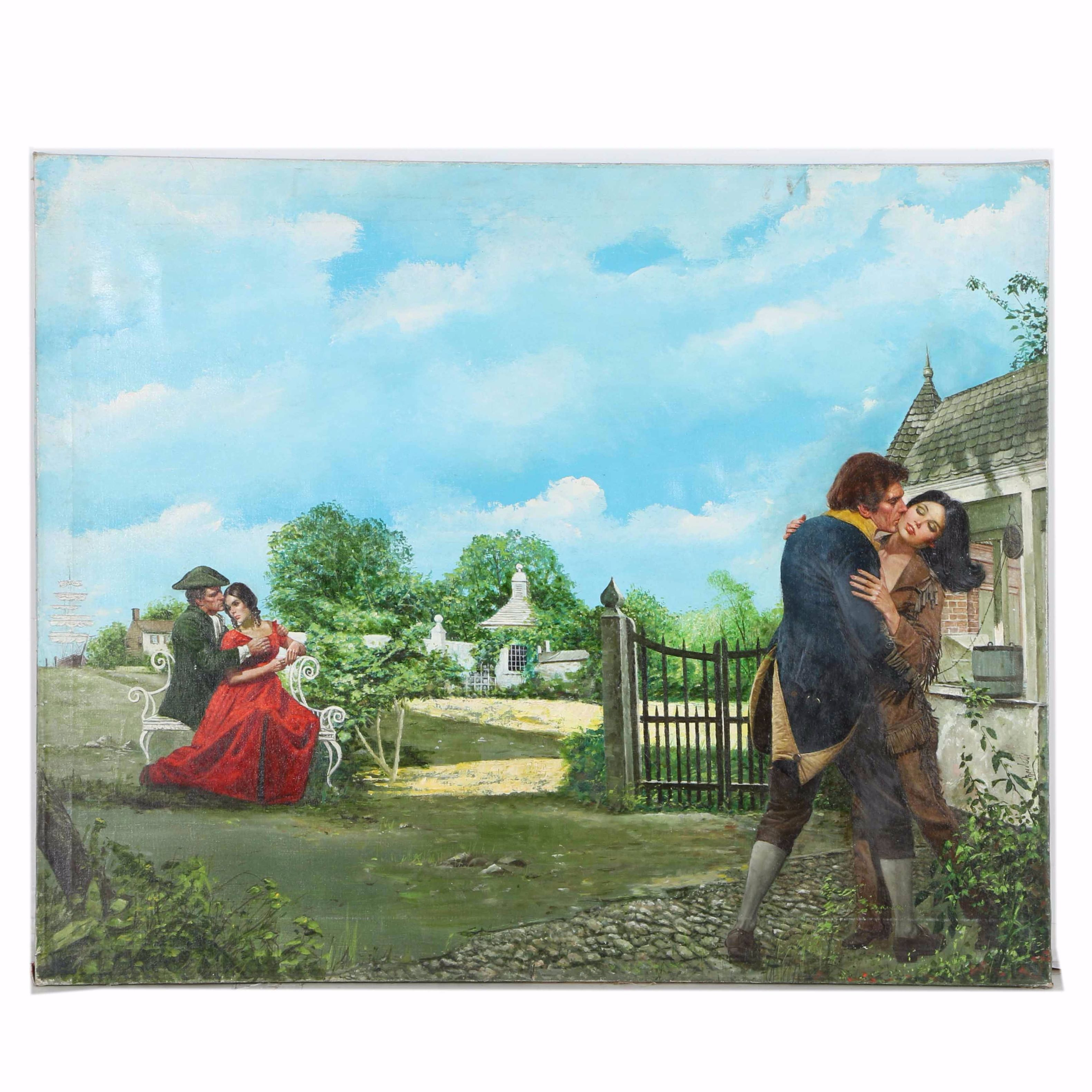 Lou Marchetti Oil Painting of Colonial-Style Couples