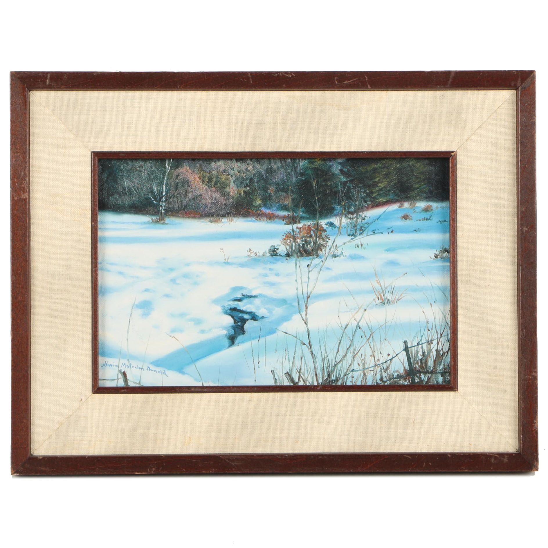 Gloria Malcolm Arnold Acrylic Painting of a Snowy Scene