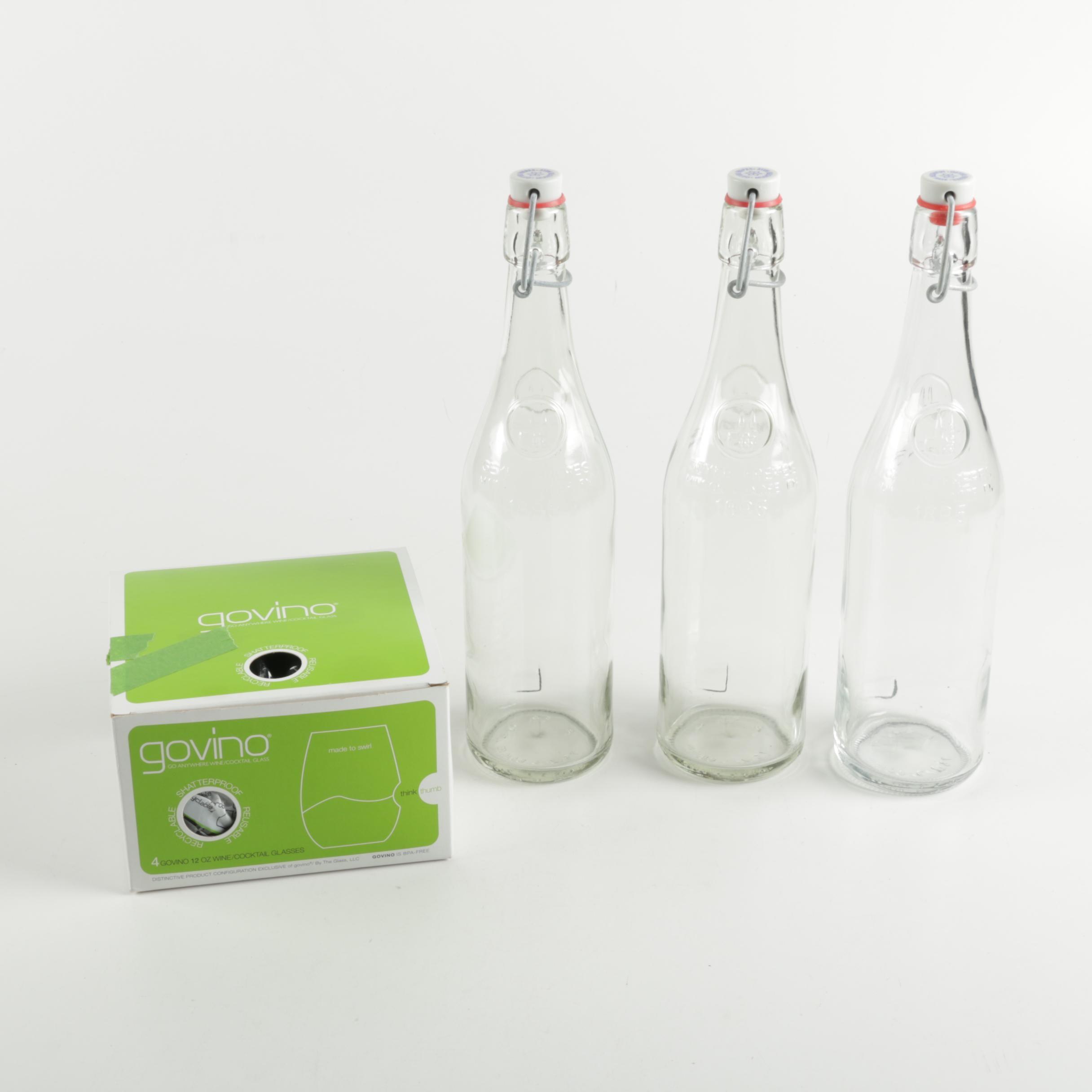 Govino Wine Glasses and Geyer Freres Glass Bottles